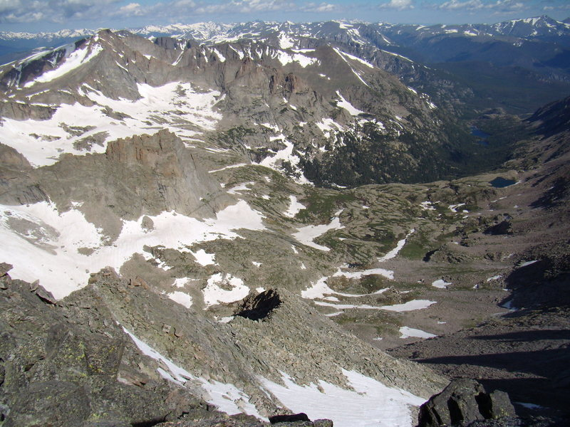 Conditions photo for Glacier Gorge.  RMNP.  July 14th 2011.  Taken from the summit of Pagoda