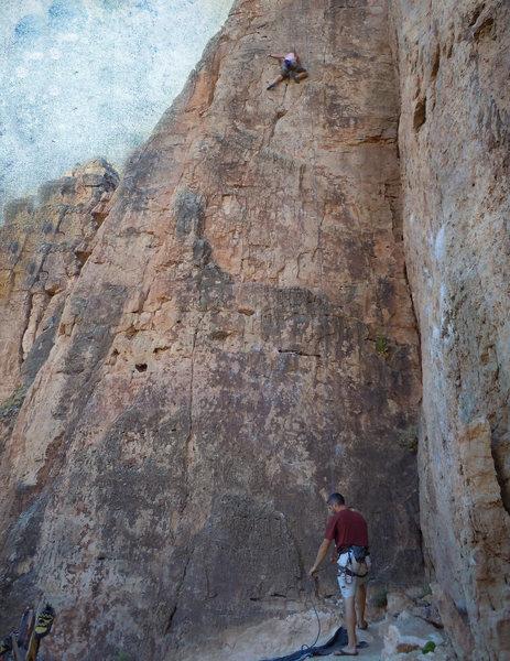 Rock Climbing Photo: A photo of April climbing Suburbia with artistic e...