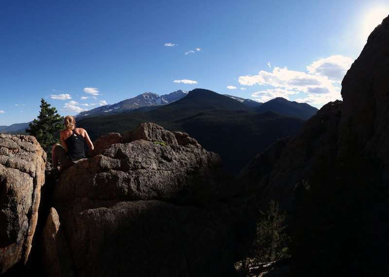 April looking at Long's from the rock at the start of Byrontosaurus.