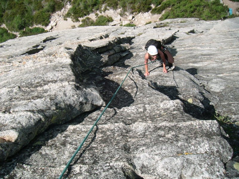 Emily Howland glides through the P1 crux - July 2011