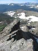 Rock Climbing Photo: Looking down the middle portion of the route.  The...