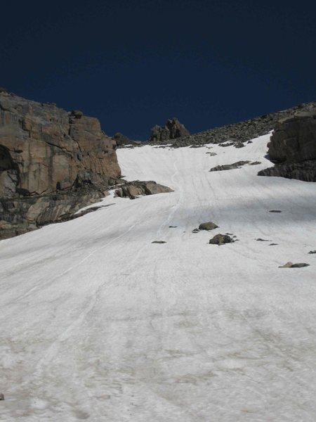 Bring your ice axe for an easy descent.  We glissaded the snowfield for probably 1000 vertical feet by the end.