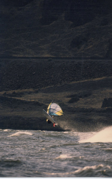Me sailing in the Columbia River Gorge in the early 90's<br> Photo: Brian Miquelan