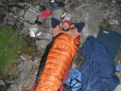 Rock Climbing Photo: Joe in his sweet bag on the Balcony Bivy above pit...