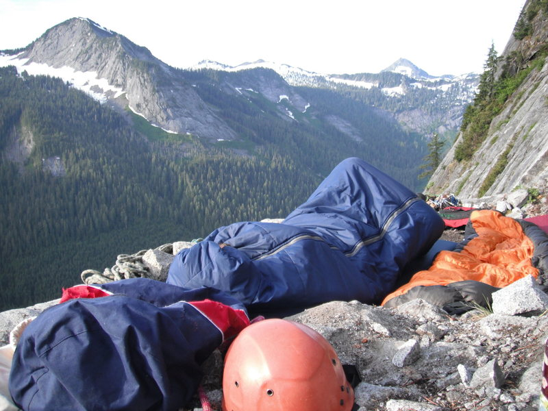 Me refusing to get out of bed. Balcony Bivy Pitch 11 Slab Daddy 5.10<br>