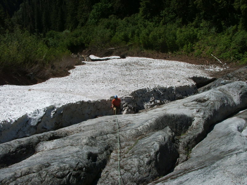 Rock Climbing Photo: Pitch 1 still covered in snow.  Mad sneaker skills...