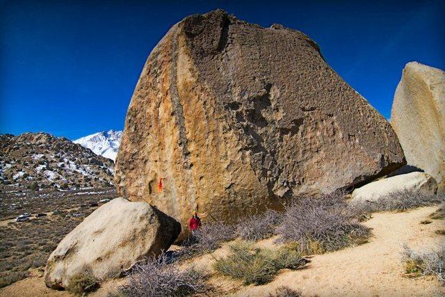 Rock Climbing Photo: Nick standing under Ambrosia on Grandpa Peabody.