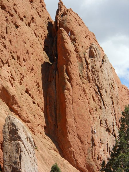 West Point Crack, Garden of the Gods.  I am at the top of P2, and N. Smith is beginning the second pitch.