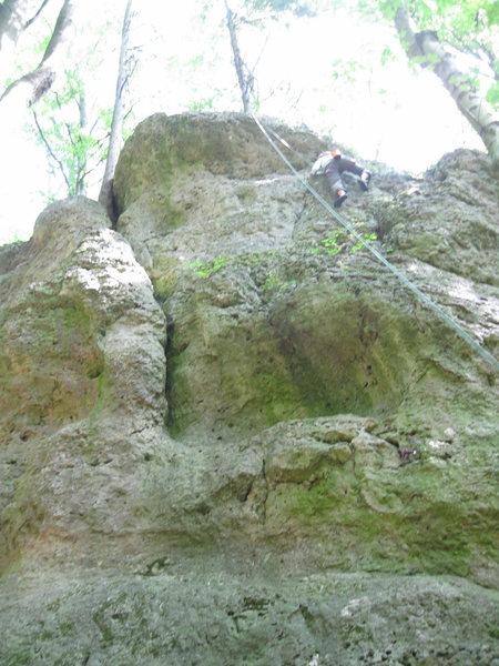 A nice wall for easier routs. The climber is climbing Neuer Schafsuchersteig (4+)