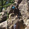 Mitchel Boring climbing Matters Not on TR, Pine Mountain.