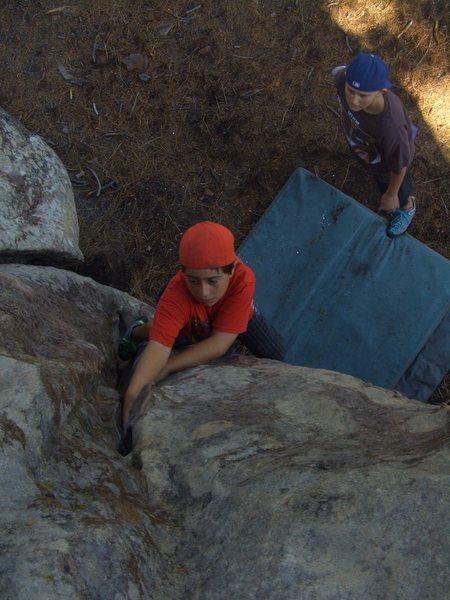 Carlo Rivas climbing Free Thinker, Pine Mountain.
