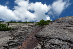 Rock Climbing Photo: Looking up at Eagle Slide from almost at the botto...