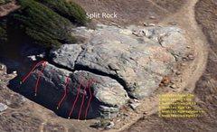 Rock Climbing Photo: Topo of Split Rock's north face