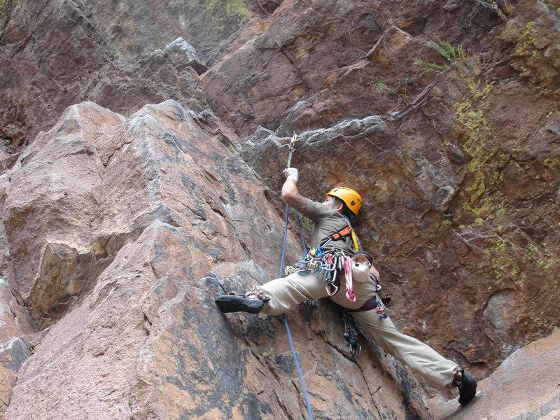 Rock Climbing Photo: Climbing the Yellow Spur, Eldorado Canyon, CO.