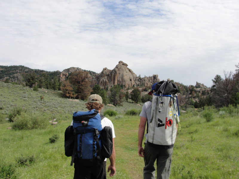 Hiking into Vedawoo, WY