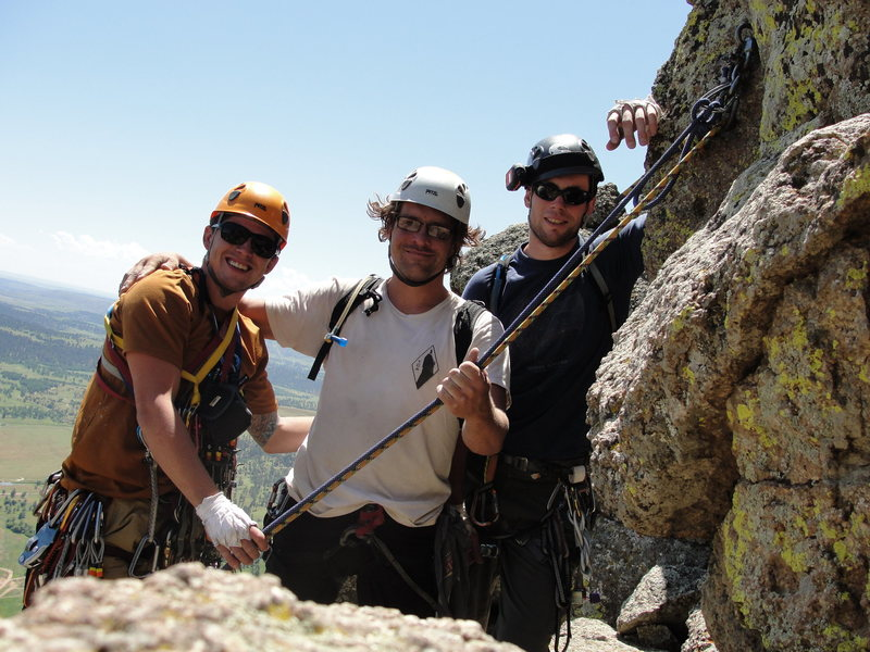 Rapping off the summit of Devils Tower , WY. Summer 2010