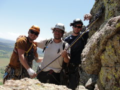 Rock Climbing Photo: Rapping off the summit of Devils Tower , WY. Summe...
