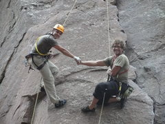 Rock Climbing Photo: Simul- rapping The Bastille with my Trav.