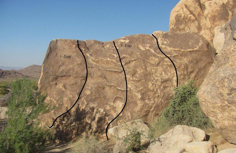 Group Camp 1 boulders west face.