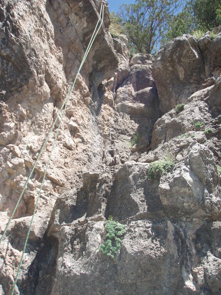 'Grand Finally' is shown by the rope on the left. This face climb is to the left of the crack.