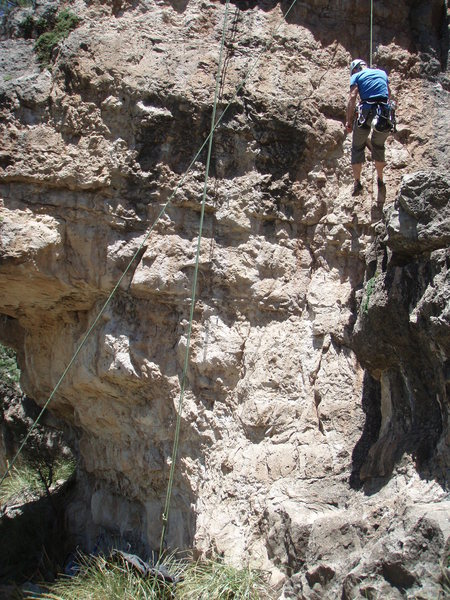 'Picture Perfect is shown by the rope on the left of the climber being lowered.