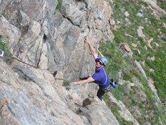 Rock Climbing Photo: Josh on the ramp of pitch 1.