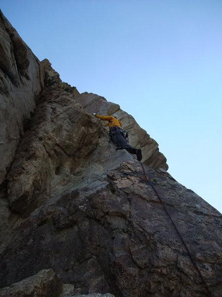 Rock Climbing Photo: Joe leading P3