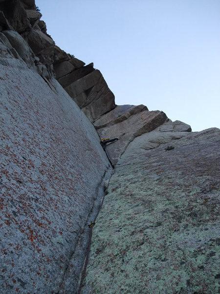 Rock Climbing Photo: Joe working the stem on P5