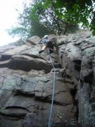 Rock Climbing Photo: Steve Z. sweating up Twin Crack (right) on the lea...