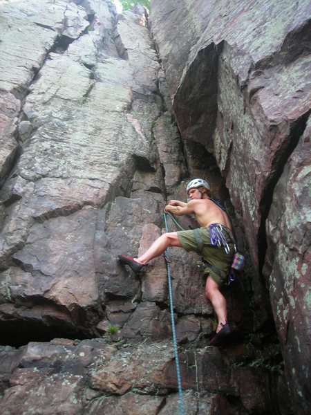 Rock Climbing Photo: Steve Z. starting up Mitzvah.  7-18-11. It was a h...