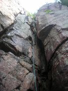 Rock Climbing Photo: Mike S. high in the steamy midst (hah!) of the Mit...