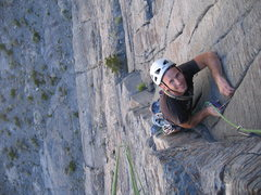 "Rock Climbing Photo: Tom ""the Hitman""  grinning on pitch 3"