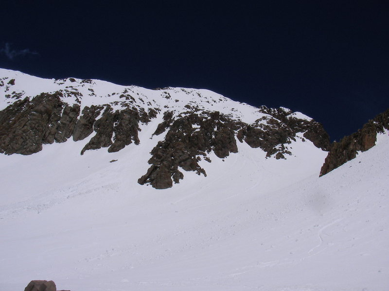 Our tracks down the Birthday Chutes Mt. Sneffels