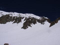 Rock Climbing Photo: Our tracks down the Birthday Chutes Mt. Sneffels
