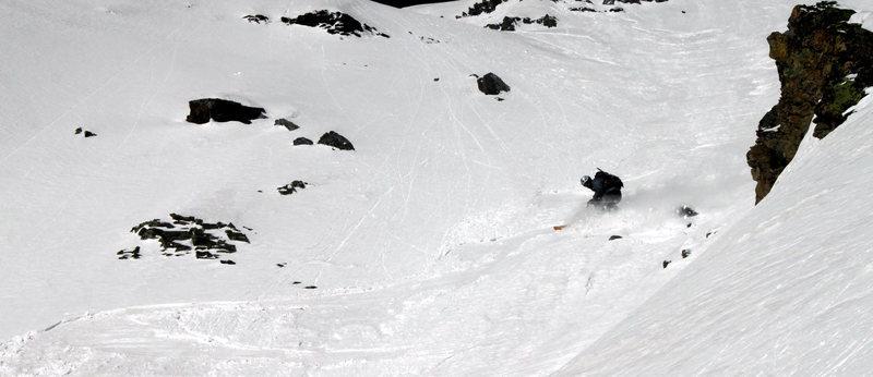Rock Climbing Photo: Good snow on the Landry Line.  Photo copyright Jor...