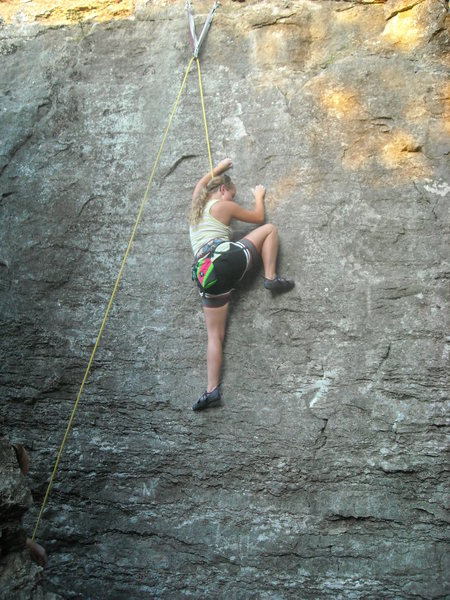 """Sam entering the crux on """"Tall Cool Blue One"""""""