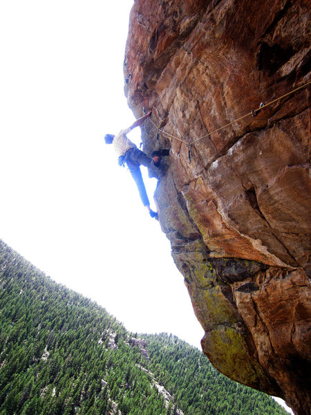 "Workin the arete before the FA.  This is the ""pre-crux""."