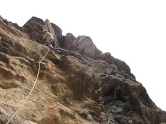 Rock Climbing Photo: Just above the 5.11 roof on P4 tip toein' through ...