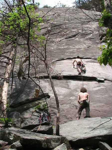 Garrett DeBruin on Seven Year Itch with Dave Coleman on belay.