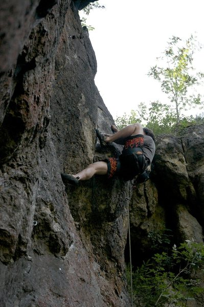 Me getting the high smear on the crux section.