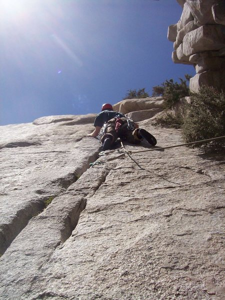 Rock Climbing Photo: Josh leading up the 5.9 crack towards the end of p...