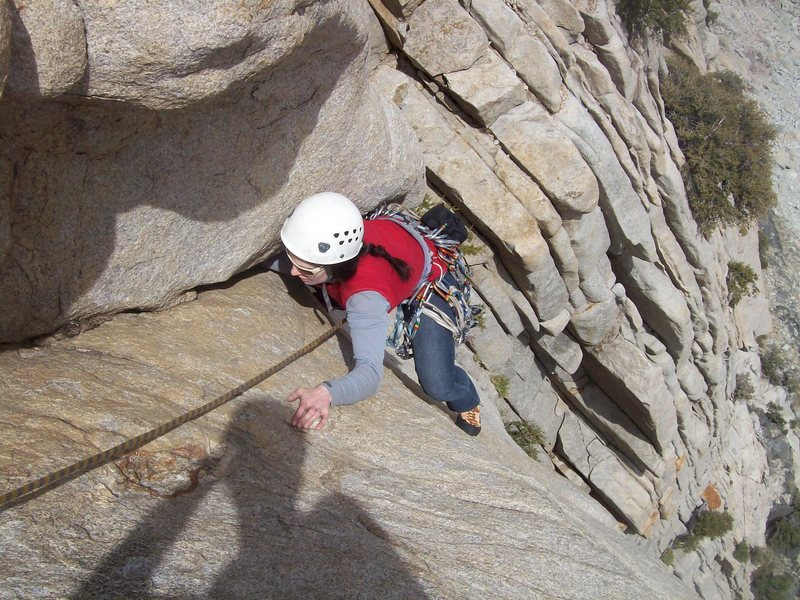 Alanna finishing up the 2nd pitch. Her arm's sunk deep into that crack.