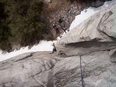 Rock Climbing Photo: Looking down pitch 1.