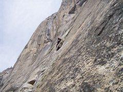 Rock Climbing Photo: Josh making the traverse on pitch 2.