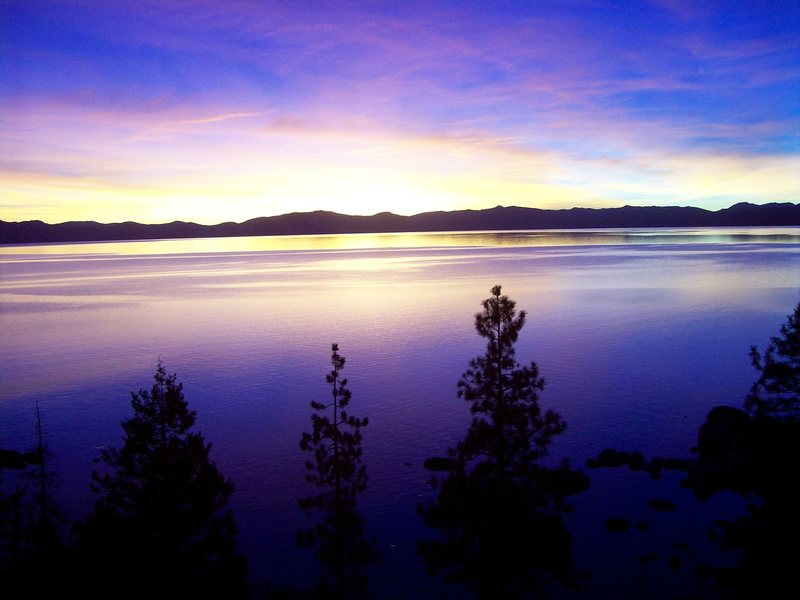 Rock Climbing Photo: December sunset from just south of Sand Harbor. No...