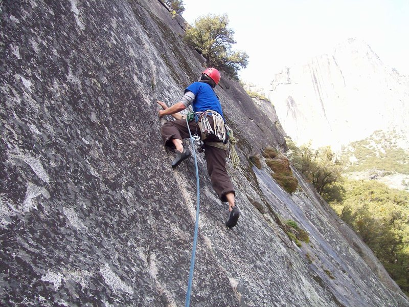 Rock Climbing Photo: Heading up the crack past the anchors. Fun, fun, f...