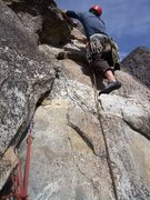 Rock Climbing Photo: Josh figuring out the overhang at the start of pit...