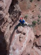 Rock Climbing Photo: Looking at the belay from the top of the tower.