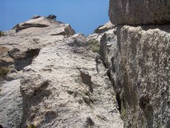 Rock Climbing Photo: The fun knobby crack on pitch 1.