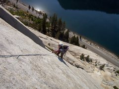 Rock Climbing Photo: Alanna laybacking up the Hermaphrodite Flake.